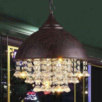 Vintage Retro Crystal Iron E27 LED Ceiling Light Pendant Lamp Dining Bedroom Reading Room Droplight Chandelier Home Decor New