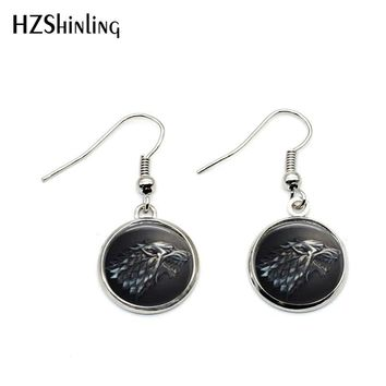 NHE-0028 Vintage Game of Thrones Earring House Stark Wolf Earrings Emblem Winterfell Map Jewelry Glass Cabochon Dome Accessory