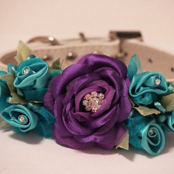 Purple Blue Wedding Dog Collar. Purle Blue Floral with Rhinestones -High Quality Leather Collar, Wedding Dog Accessory