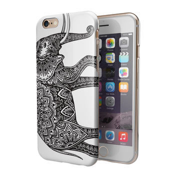 Black and White Aztec Ethnic Elephant 2-Piece Hybrid INK-Fuzed Case for the iPhone 6/6s or 6/6s Plus