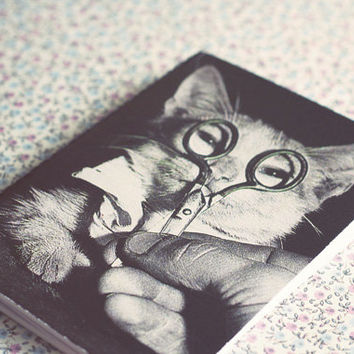Vintage Cat  photography notebook. Vintage photograph notepad. A7 sketch notebook. Mini / Small Notebook. Snail mail