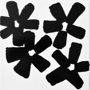 Modern Flower Painting Original Black and White Flower Abstract Painting Geometric Art Painting 8 x 8 inch Canvas FREE SHiPPiNG Canada & US