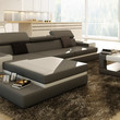Divani Casa 5081B Grey and White Bonded Leather Sectional Sofa w/ Coffee Table