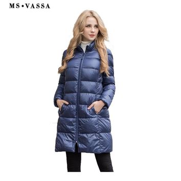 New Autumn Winter Women White Goose Down Jacket Stand Up Collar Plus Size Long Outerwear