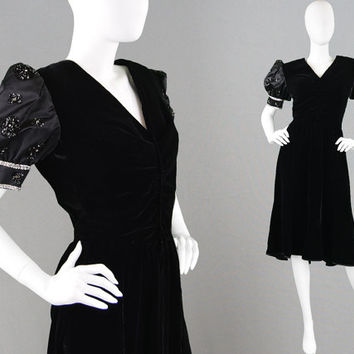 Vintage 80s VALENTINO Boutique Black Velvet Dress Silk Satin Beaded Puff Sleeves 80s Party Dress Unusual Dress Little Black Dress LBD Dress
