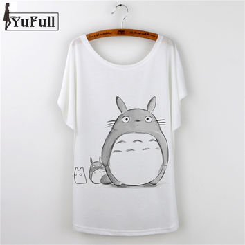 Harajuku 2016 Summer Tops Loose Tshirt Totoro Print T-Shirt Women T Shirt Fashion Cartoon Batwing Sleeve Plus Size White Tees