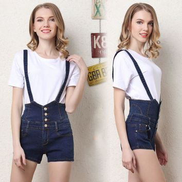 Denim Overalls Women Playsuits Summer Jeans femme straps Overalls High Waist Shorts lady Buttons jeans woman