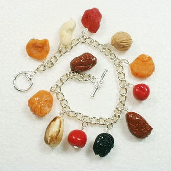 Dried Fruit And Nut Bracelet. Polymer Clay.