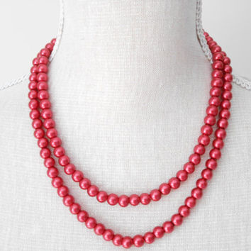 Two strands red pearl necklace great for Valentines day, present, For Christmas, For wife, Girlfriend, Sister, Handmade jewelry, Anniversary