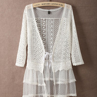 White Half Sleeve Tiered Lace Cardigan
