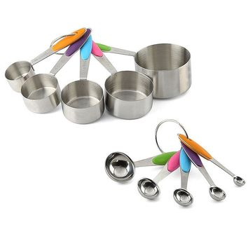 Mayitr 10pcs/lot Stainless Steel Measuring Cups Measuring Spoon Scoop Set Kitchen Cooking Tools Spoons +Scale Silicone Handle