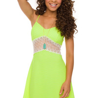 Kassidy Stripe Dress - Neon Green