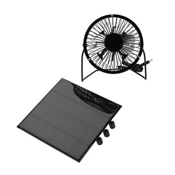 Mini 3W 6V Outdoor Solar Panel Portable Mini Fan USB Black Cooling Fun for Travel Camping Fishing Outdoor Tool Kit Accessory