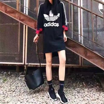 ICIKH3L Adidas' Fashion Casual Stripe Clover Letter Sequin Long Sleeve Hooded Mini Dress