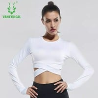 Vansydical Yoga Shirts Long Sleeve Women's Sexy Exposed navel Fitness Running Sport T-Shirts Quick Dry Training Gym Crop Tops
