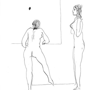 NUDE EXERCISE sketch study minimalist ink drawing beautiful women posing portrait original art unique gift 4 wife husband friend AFFORDABLE