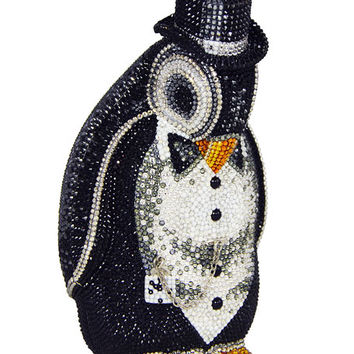 Judith Leiber Couture Alfred Penguin Evening Clutch Bag, Black/Silver