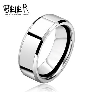 BEIER 2017 Silver Color Stainless Steel Fashion Man Cool High Polished  Wedding Ring BR-R006
