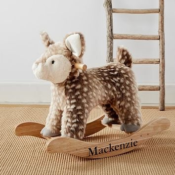 Nursery Faux-Fur Plush Fawn Rocker