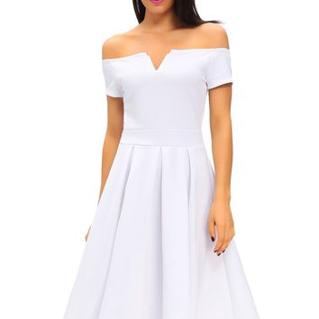 Chicloth Solid White Thick Flare Midi Vintage Dress