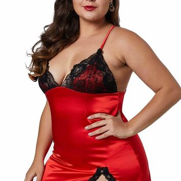 Red/Purple Plus Size Satin Chemise with Lace