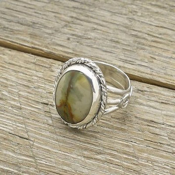Estate Sterling Silver Green Agate Ring 925 Handmade Fine Jewelry