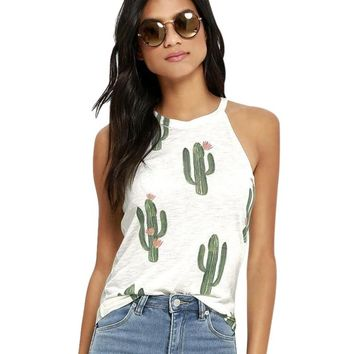 Sleeveless Womens Sexy Blouse 2018 Summer Off Shoulder Ladies Tops Causal Tee Shirts Femme Cacti Printed Camisas Mujer Tunics