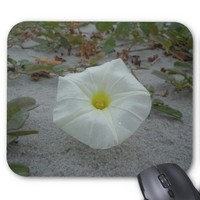 White Morning Glory on the Beach Mouse Pad