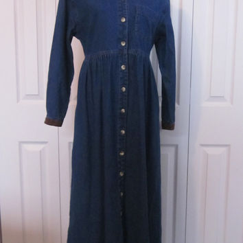 Vintage Denim Prairie Dress Long Sleeve High Waisted Denim Dress Button Up Front Boho Hippie Dress Womens 8 Petite Brown Suede Collar