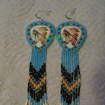 Shoulder duster Rosette style beaded Native American inspired earrings