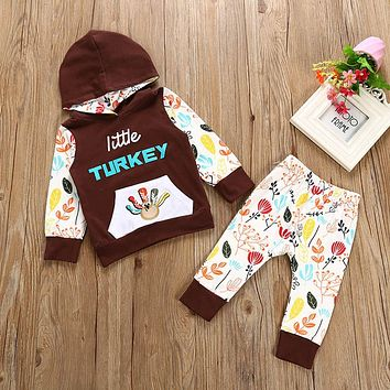 Christmas Pajamas Dress For Baby Girls Kids Boy Vestidos Thanksgiving Newborn Girl Outfits Clothes Print T-shirt Tops+Pants Set