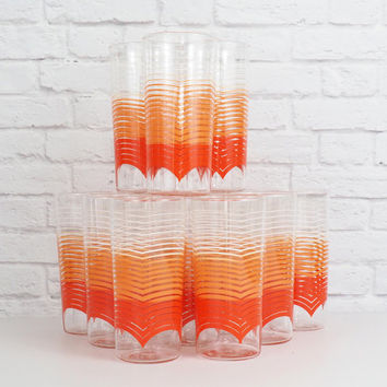 Vintage Anchor Hocking Tumbler Drinking Glasses 16 Oz // Mid Century Modern Orange Ombre Stripes // RARE Set of 12