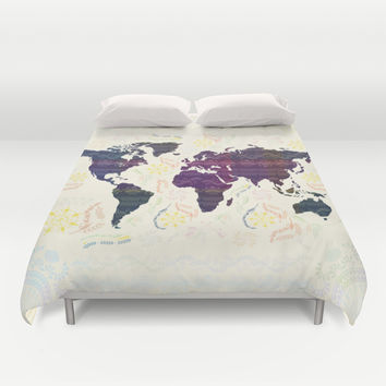 World Map Duvet Cover by Famenxt