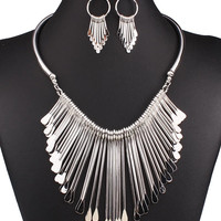 Silver Droplet Bar Tassel Chain Necklace And Earrings Set