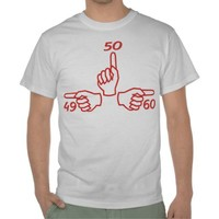 49 50 60 Funny hands 50th Birthday tee from Zazzle.com