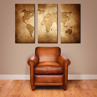 Vintage World Map - Extra Large Canvas Wall Art