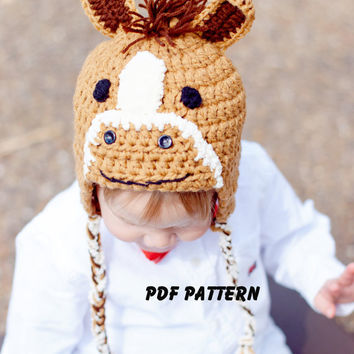 PDF Crochet Horse, Pony Hat Pattern, file sent via email. Finished size fits newborn to 3 months.