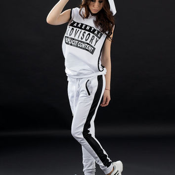 Sport set black and white / Tracksuit / Women hoodie / Hooded top / Bottom / Pants / Trousers / Casual set