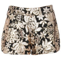 ROMWE | ROMWE Gold Sequined Embroidery Black Shorts, The Latest Street Fashion
