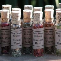 Organic Herbal Old World Alchemy Sacred Herb Flower Vials . Set of 12 . Your Choice . Wicca Pagan Witchcraft