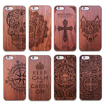 Vintage Carving Real Wood+Plastic Case for iPhone 5 5S SE 6 6s 6plus 6s Plus