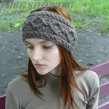 Ear warmer headband, Brown hair bands, Womens headbands, Gift for her, Knitted headbands, Cable hair bands, Wool headwraps, Hair accessories