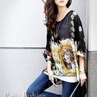 Women Bohemian Oversized Tank Top Chiffon Half Batwing Sleeve Shirt Blouse Stripe Printed Smile