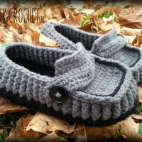 Men's Crochet Slippers, Men's Crochet Loafers, Men's House Slippers, Size 6-15