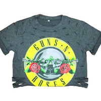 """Guns n Roses"" Distressed Crop Top"
