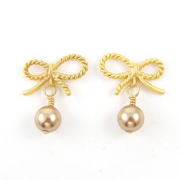 Gold Bow Earrings - Blush Pearl Dainty Girly Everyday Pearl Jewelry