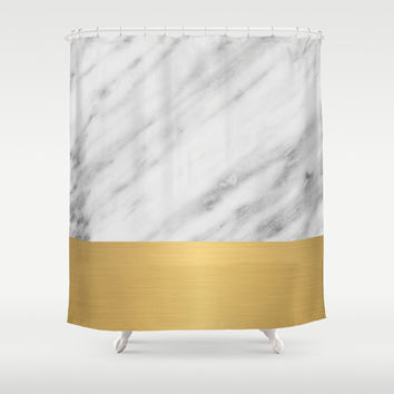 Carrara Italian Marble Holiday Gold Edition Shower Curtain by cafelab