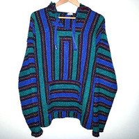 Vintage Baja Hoodie Green Blue and Red DRUG RUG Mexican Sweater Surfer Stoner Size Extra Large