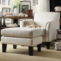 HomeVance 2-piece Remmington Arm Chair and Ottoman Set (White)