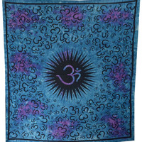 Hippie Hippy Wall Hanging Indian OM Print Tapestry Turquoise Blue Bedspread Bohemian Wall Decor Queen Bed Sheet Gypsy Wall Tapestry India